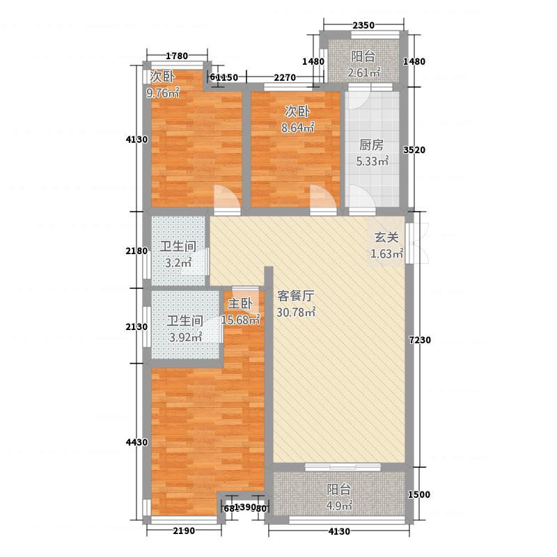 时代国际中心121.00㎡B2户型3室2厅2卫