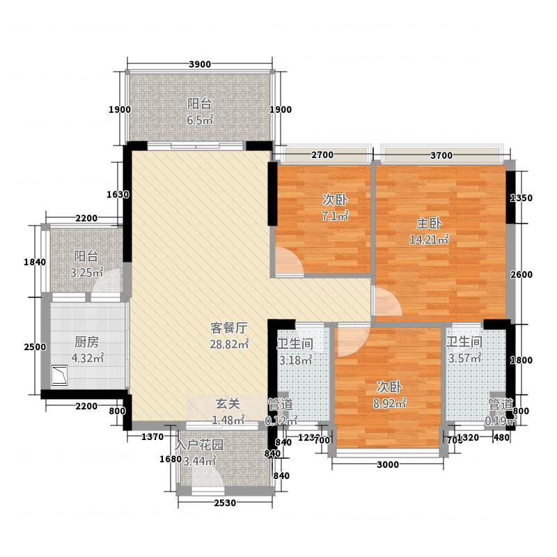汇银江南富湾6.00㎡二期A3A4座02户型3室2厅2卫1厨