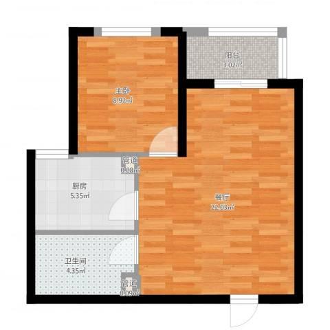 铭城国际社区1室1厅1卫1厨50.10㎡户型图