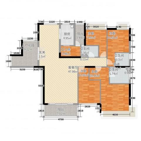 华怡居4室1厅3卫1厨200.00㎡户型图
