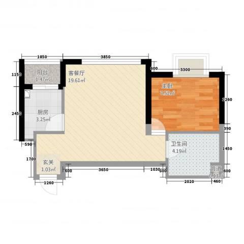御景龙庭1室1厅1卫1厨55.00㎡户型图