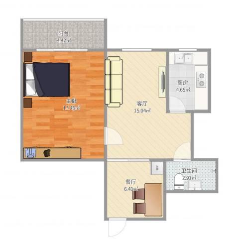 西青高层1室2厅1卫1厨55.13㎡户型图