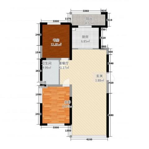 桐楠格翡翠城2室1厅1卫1厨115.00㎡户型图