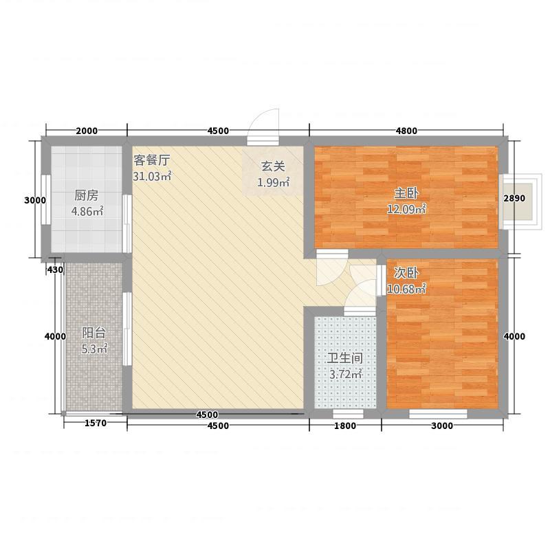 华荣大厦二期7.82㎡户型2室2厅1卫1厨