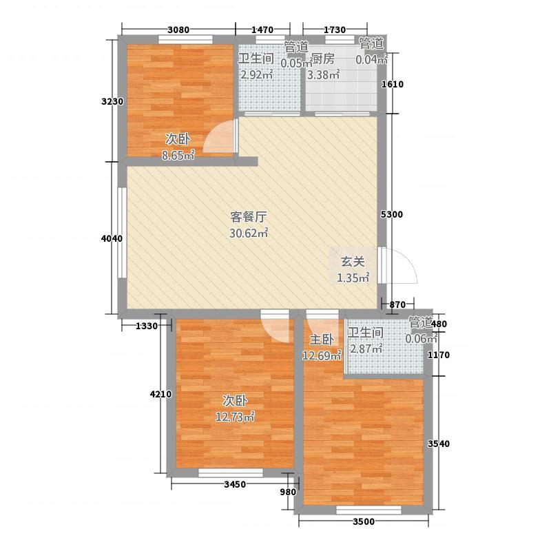 多恩海棠湾7.52㎡三期海棠湾组团B户型3室2厅1卫1厨