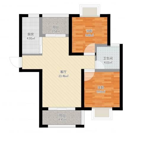 高巢2室1厅1卫1厨88.00㎡户型图