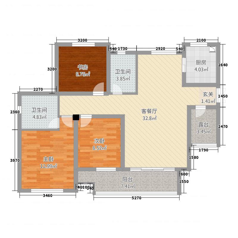 宝城126.00㎡小区户型3室