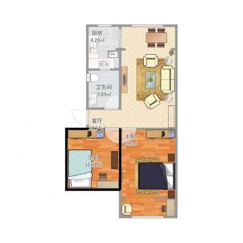 沙子堰小区2室1厅1卫1厨74.00㎡户型图