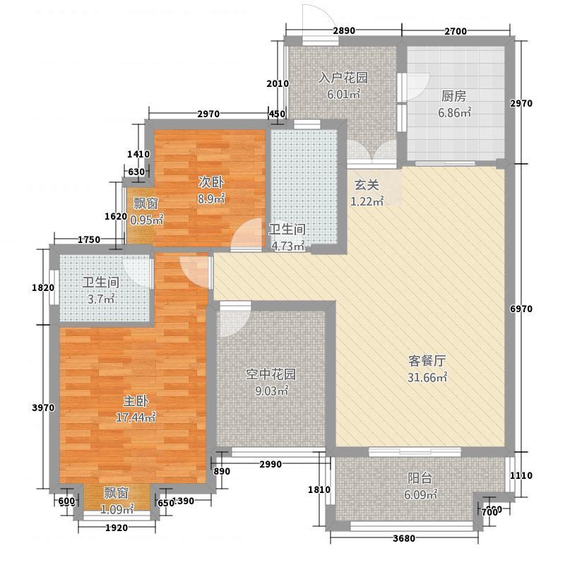 都市名门23111.32㎡C2户型3室2厅2卫1厨