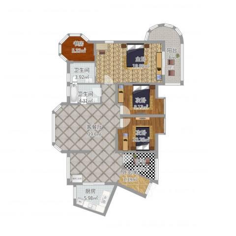 东湖品臻4室1厅2卫1厨159.00㎡户型图