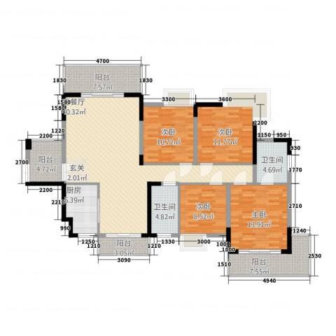梓山湖领御4室1厅2卫1厨123.19㎡户型图