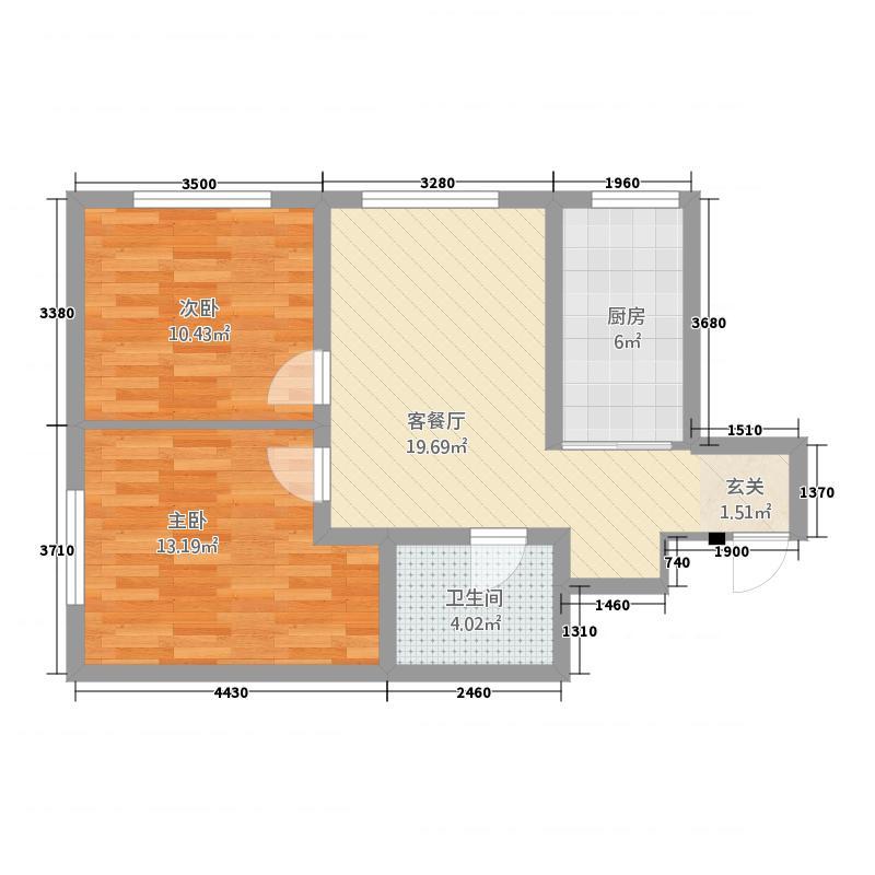 哈西华府3282.26㎡32号楼户型2室1厅1卫1厨