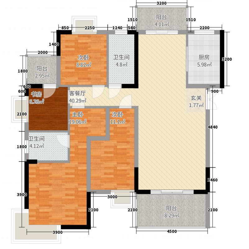 梓山湖领御148.81㎡8#A户型4室2厅2卫1厨