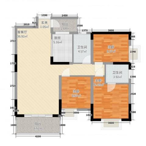梓山湖领御3室1厅2卫1厨119.00㎡户型图