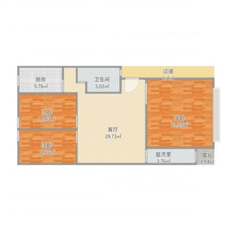 青云公寓3室2厅1卫1厨120.00㎡户型图