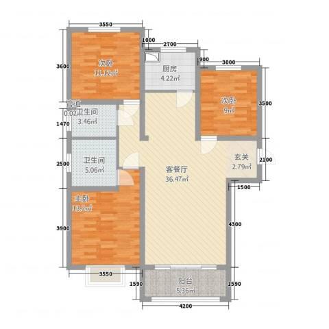 芳清苑3室1厅2卫1厨126.00㎡户型图