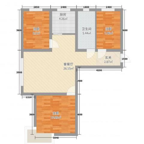 芳清苑3室1厅1卫1厨91.00㎡户型图
