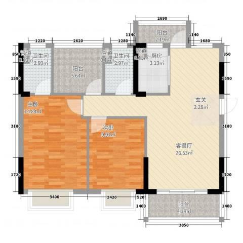 东逸湾花园2室1厅2卫1厨91.00㎡户型图