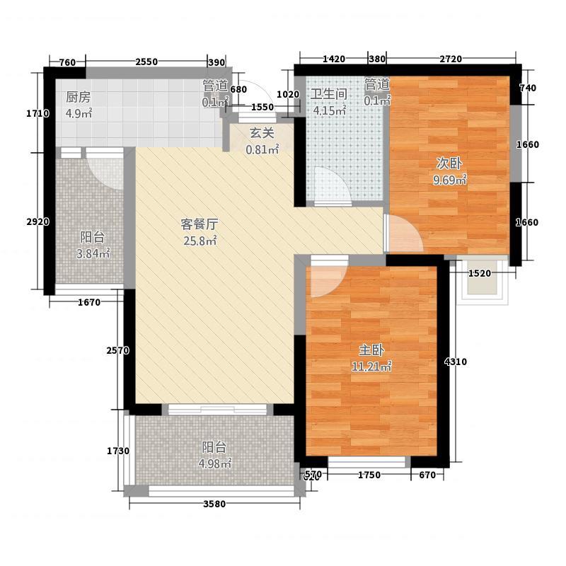 晋合湘水湾2228.83㎡A户型2室2厅1卫1厨