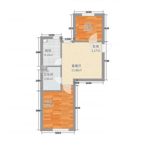 甜橙派2室1厅1卫1厨3356.00㎡户型图