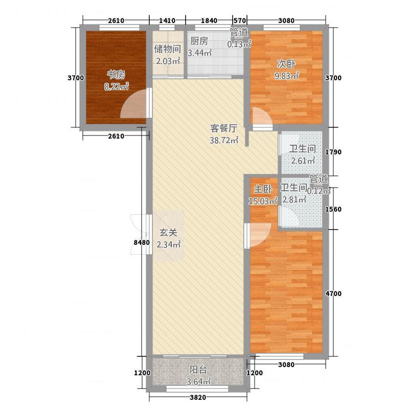 明珠花园户型3室2厅2卫1厨