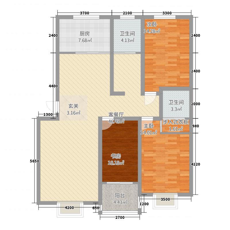 孟津锦绣花园3132.75㎡A3户型3室2厅2卫1厨