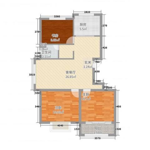 清华园3室1厅1卫1厨329.00㎡户型图