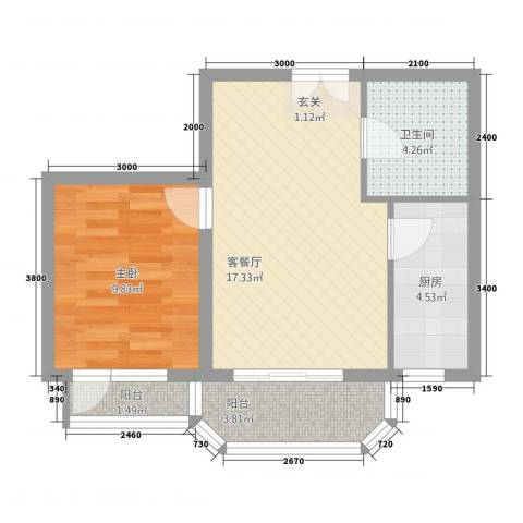 罗马世纪城1室1厅1卫1厨116.00㎡户型图