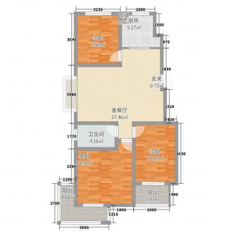 泰和名都3室1厅1卫1厨80.47㎡户型图