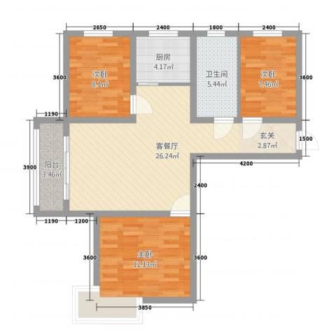 芳清苑3室1厅1卫1厨97.00㎡户型图