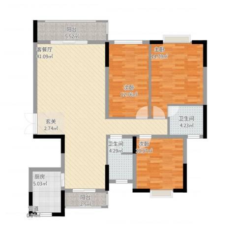 联泰香域尚城3室1厅2卫1厨142.00㎡户型图
