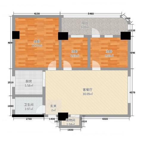 汉华大厦3室1厅1卫1厨121.00㎡户型图