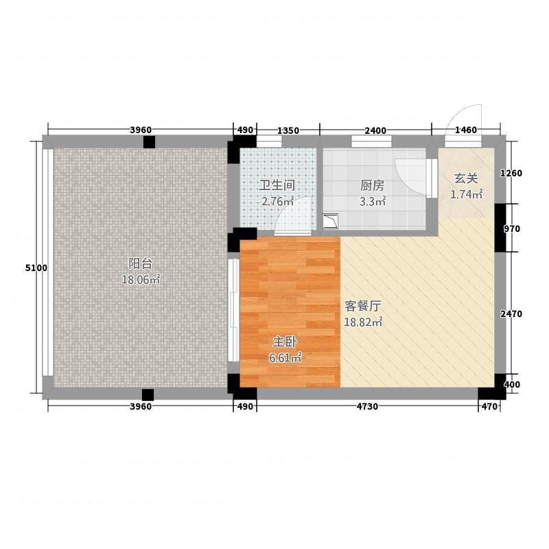 天籁谷国际度假区41.64㎡一期MINI别墅B2一层2号楼户型1室1厅1卫1厨