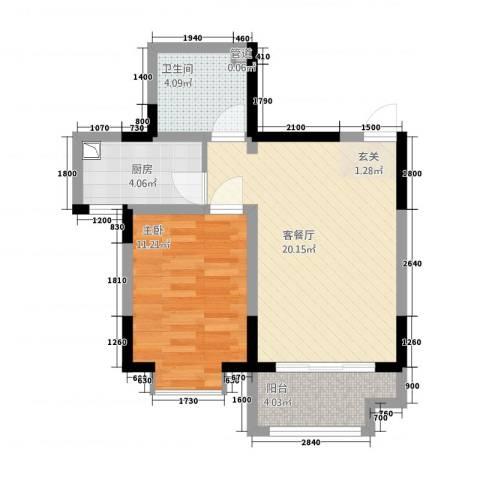 芳清苑1室1厅1卫1厨64.00㎡户型图