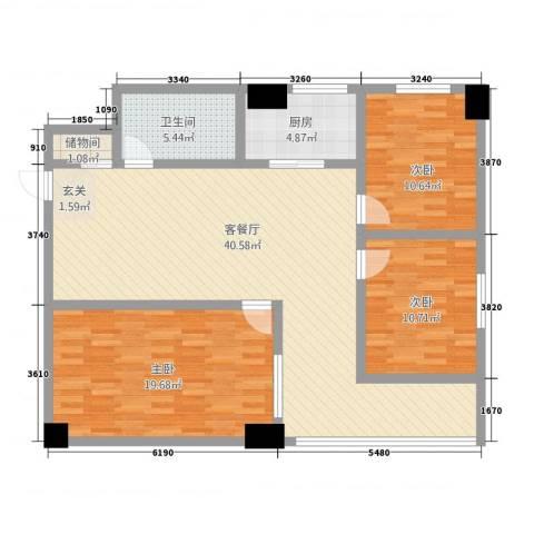 汉华大厦3室1厅1卫1厨134.00㎡户型图