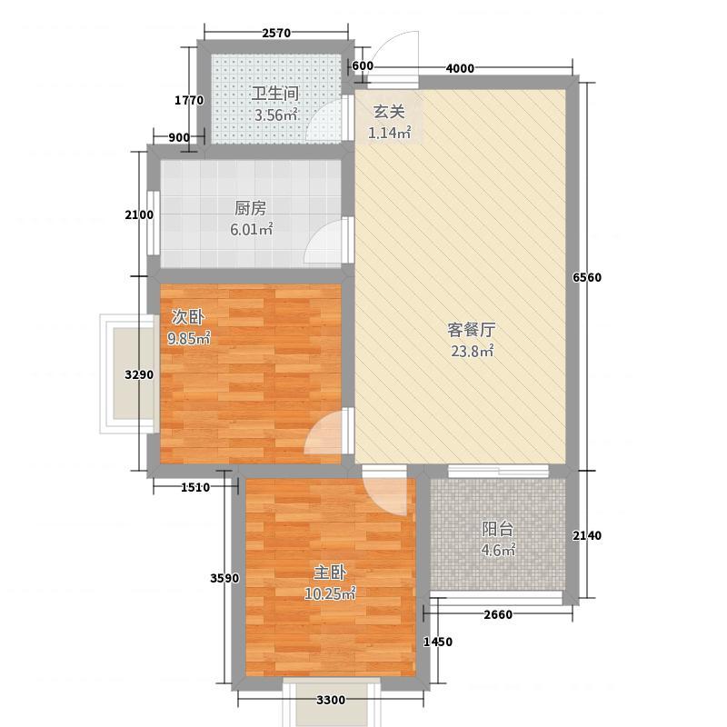 平安先河东苑1.84㎡B户型2室2厅1卫1厨
