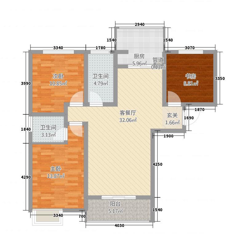 公园华府33115.22㎡3A户型3室2厅2卫