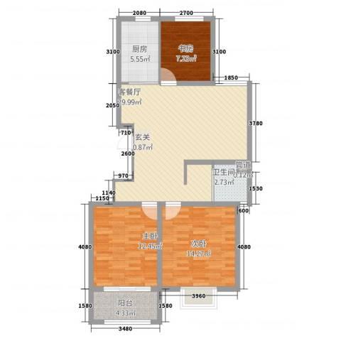 清华园3室1厅1卫1厨321.00㎡户型图