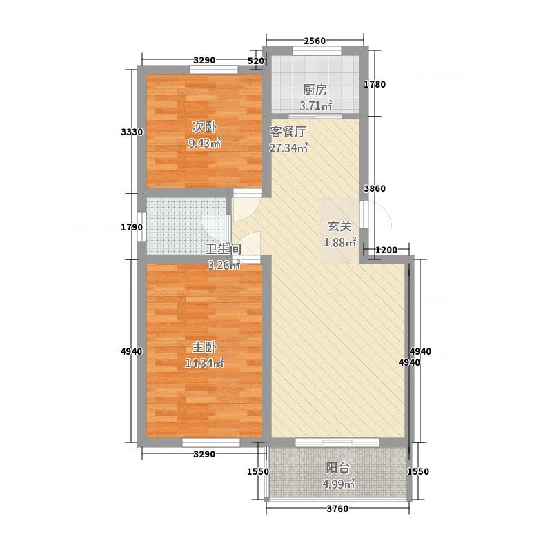 锦悦桦庭18.88㎡A、A1户型2室2厅1卫1厨