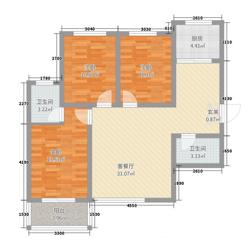 平安先河东苑117.32㎡A户型3室2厅2卫1厨