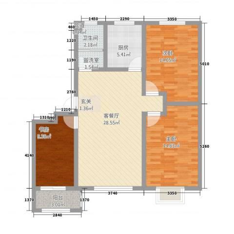 清华园3室2厅1卫1厨32114.00㎡户型图