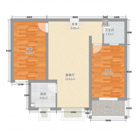 易城雅居2室1厅1卫1厨62.91㎡户型图