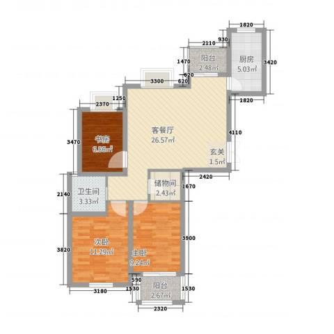 海洲铂兰庭3室1厅1卫1厨101.00㎡户型图
