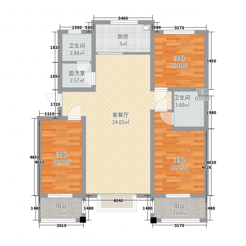 锦悦桦庭68126.20㎡6#8#D户型3室2厅2卫1厨