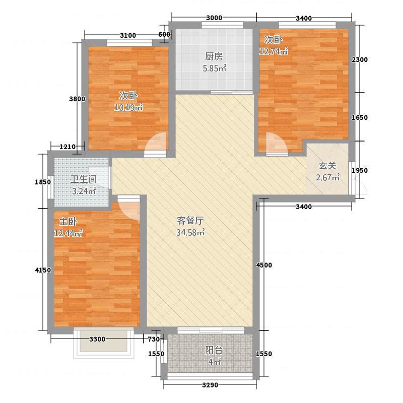 众美凤凰绿都2115.76㎡2号地块3号楼三居户型3室2厅1卫1厨