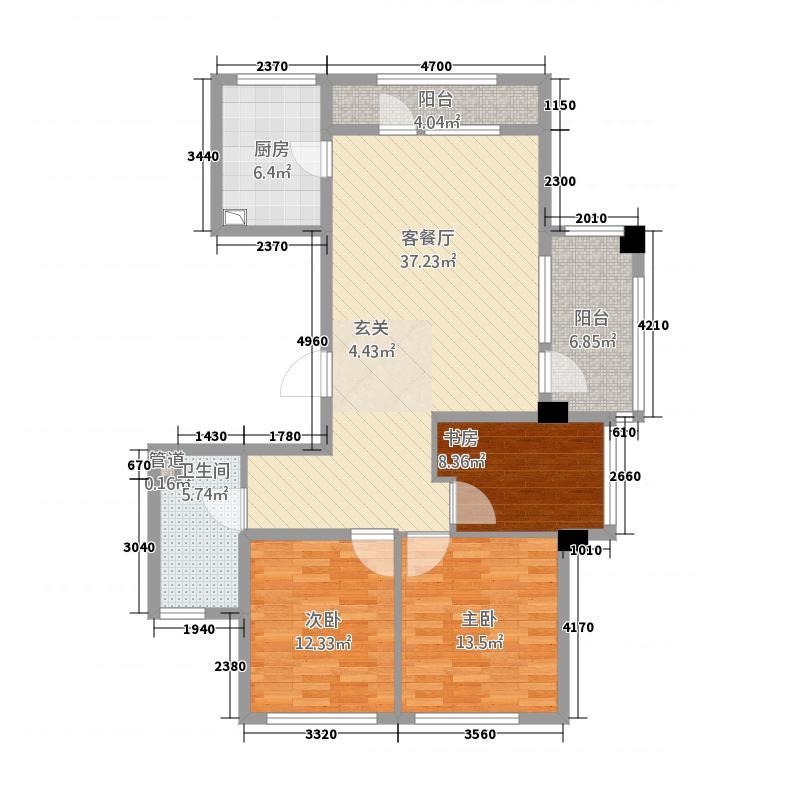 绿城百合花园135.20㎡【团购】B8号楼C2户型3室2厅1卫1厨