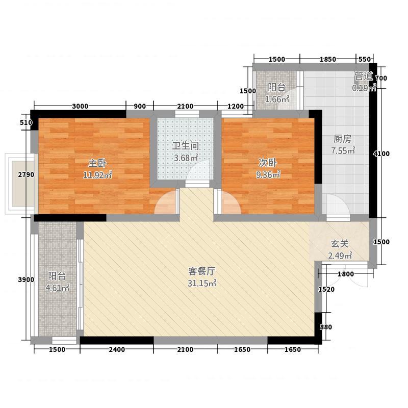 华屹御景苑2.50㎡3栋F户型2室2厅1卫1厨