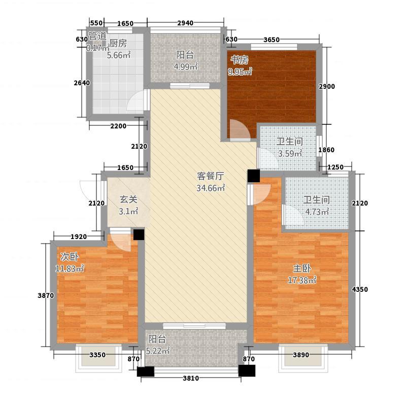 晟地润园32128.13㎡F户型3室2厅2卫1厨