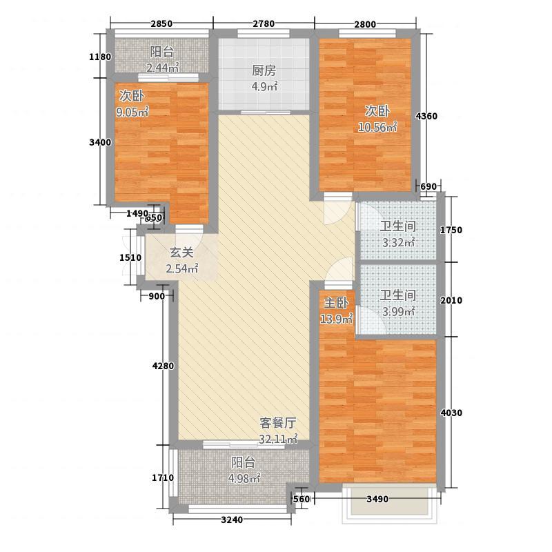 伦达星尚城122.12㎡F户型3室2厅2卫1厨