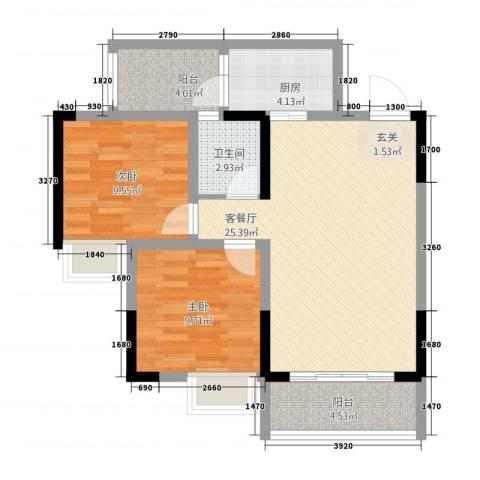 义乌鑫城2室1厅1卫1厨75.00㎡户型图